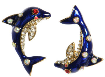 Betsey Johnson Navy Dolphin Stud Earrings