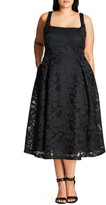 City Chic Jackie O Lace Fit & Flare Dress