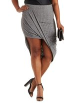 Charlotte Russe Plus Size Ribbed & Marled Asymmetrical Skirt