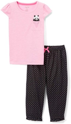 Rene Rofe Girl Girls' Sleep Bottoms CONVERCHAR - Pink & Black Panda Capri Pants Pajama Set - Girls