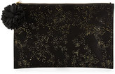 Neiman Marcus Gold-Flecked Flat Zip Pouch, Black