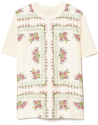 Tory Burch Short-Sleeve Printed Pullover