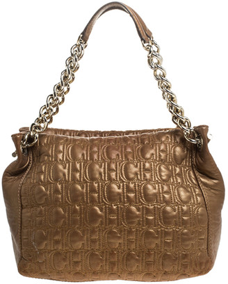 Carolina Herrera Metallic Brown Monogram Leather Tote