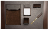 Bey-Berk Leather and Lacquer Desk Set