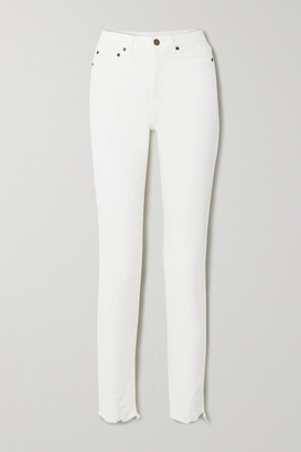 Saint Laurent Distressed High-rise Straight-leg Jeans - White