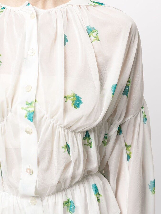 Thumbnail for your product : yuhan wang Floral-Print Ruffled Blouse