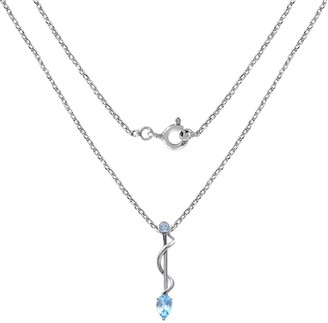 Blue Topaz Sterling Silver Round Short Pendant by Orchid Jewelry