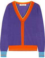 Diane von Furstenberg Color-block Cotton-blend Sweater - Purple