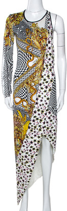Just Cavalli White Printed Stretch Jersey Asymmetrical Dress S