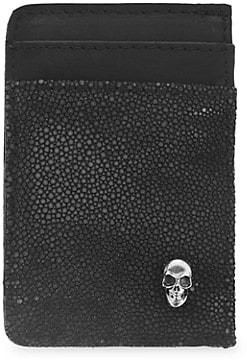King Baby Studio Small Leather & Sterling Silver Vertical Open Card Holder