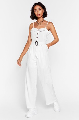 Nasty Gal Womens Looks Like Your Linen Belted Jumpsuit - White
