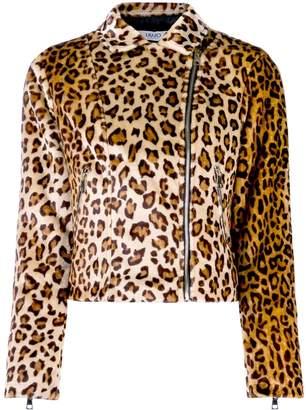 Liu Jo leopard print faux fur biker jacket