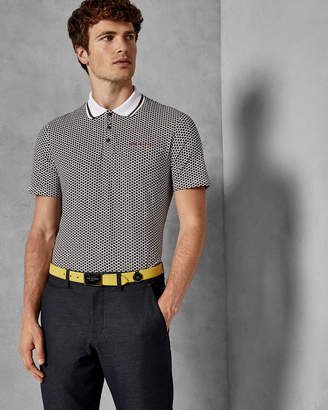 Ted Baker ERINE Hexagon geo cotton polo shirt