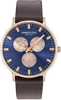 Kenneth Cole Men's Brown Leather Strap Watch 46mm KC14946002