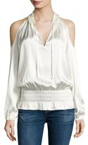 Ramy Brook Jamie Charmeuse Cold-Shoulder Top, Soft White