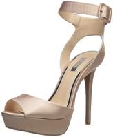 Qupid Avalon-187 Black Satin Women/'s Peep Toe Ankle Strap Heel