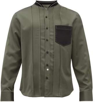 Lanvin Stand-collar Varsity Shirt - Mens - Grey