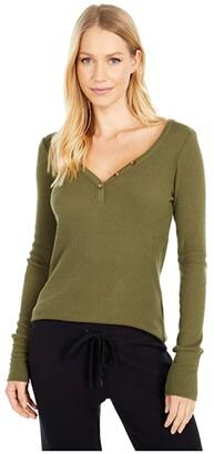 PJ Salvage Textured Basics Long Sleeve (Blush) Women's Pajama