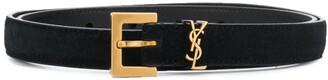 Saint Laurent logo plaque suede effect belt