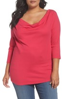 Three Dots Plus Size Women's Cowl Neck Top