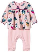 Catimini Pink Flower Print Dress and Leggings All-in-One