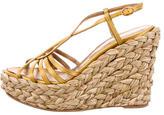 Saint Laurent Satin Espadrille Wedge Sandals
