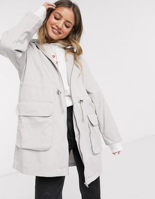ASOS DESIGN lightweight parka in washed grey