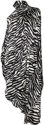 MM6 MAISON MARGIELA One-Shoulder Zebra-Print Dress