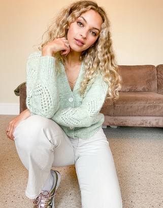 Pimkie pointelle button cardigan in sage green