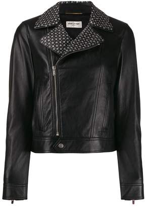Saint Laurent star studded biker jacket