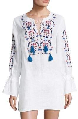Tory Burch Wildflower Embroidered Bell-Sleeve Linen Beach Tunic