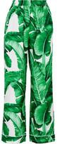 Dolce & Gabbana Printed Silk-twill Wide-leg Pants - Green