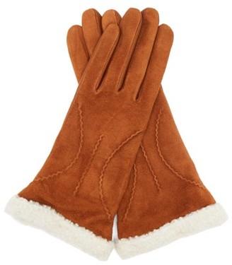 Agnelle Sebille Leather-faced Shearling Gloves - Brown