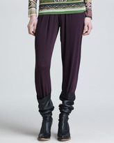 Jean Paul Gaultier Pants with Crossover Knit Waistband, Plum