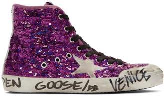 Golden Goose Purple Sequin Francy Penstar Sneakers