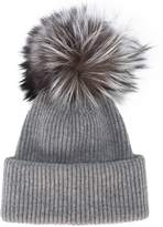 Inverni Grey Ribbed Cashmere Hat With Fur Pom Pom