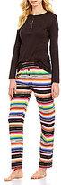 Lauren Ralph Lauren Striped Slub Jersey Henley Pajamas