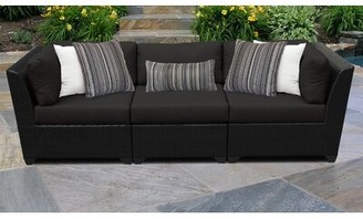 Sol 72 Outdoor Tegan Patio Sofa with Cushions Cushion Color: Black