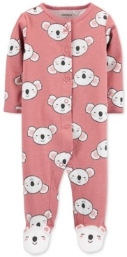 Carter's Baby Girls Cotton Koala-Print Footed Coverall