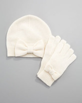 Neiman Marcus Cashmere Bow Gloves, Sizes 2-6, Niveous Ivory
