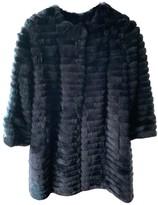 Yves Salomon Navy Rabbit Coat for Women