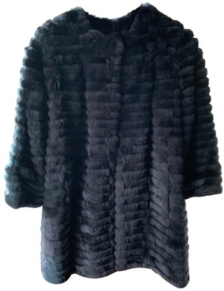 Yves Salomon Navy Rabbit Coat for Women
