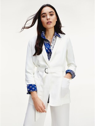 Tommy Hilfiger Relaxed Fit Sateen Belted Blazer