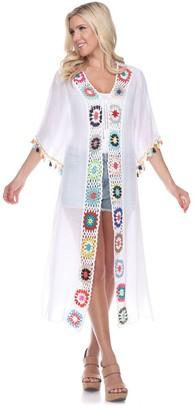 White Mark Women's Crochet Cover-Up Kimono