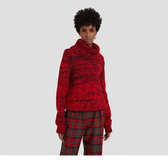 Mulberry May Roll Neck Jumper Scarlet Chunky Fleck Wool