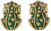 David Webb 18K Yellow Gold and Ruby Enamel Frog Clip-on Earrings