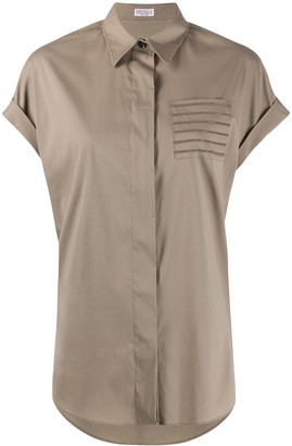 Brunello Cucinelli Brass-Embellished Chest Pocket Shirt