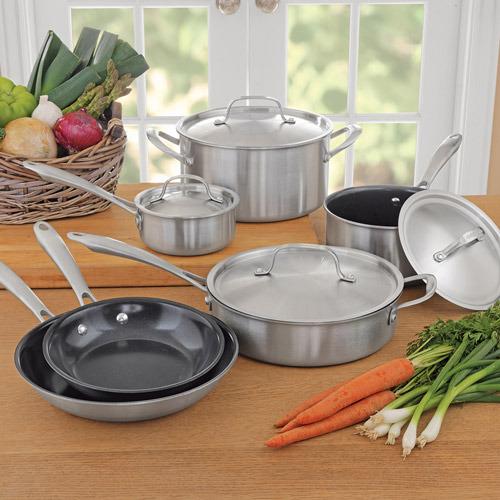 Cuisinart Green Gourmet 10-Piece Stainless-Steel Cookware Set