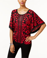 JM Collection Butterfly-Sleeve Scroll-Print Top, Only at Macy's