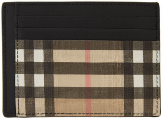 Burberry Beige Vintage Check Money Clip Card Holder